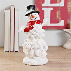 Pre-Lit Shell Snowman with Black Top Hat