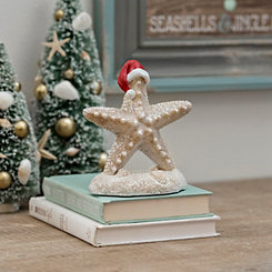 Coastal Starfish with Santa Hat Tabletop Figurine
