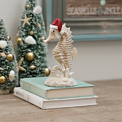 Coastal Seahorse with Santa Hat Tabletop Figurine