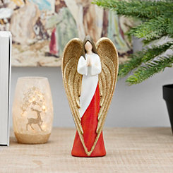 Gold Winged Red and White Praying Angel