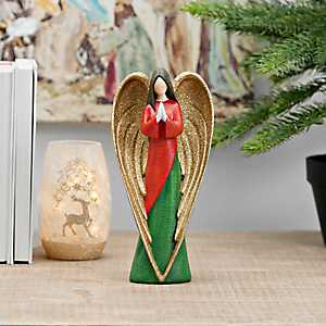 Gold Winged Green and Red Praying Angel