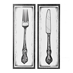 Black and White Utensil Art Prints, Set of 2