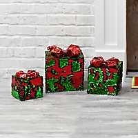Pre-Lit Mermaid Sequin Christmas Box, Set of 3