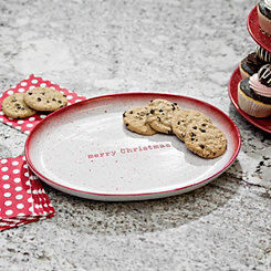 Oval Red Speckle Merry Christmas Platter