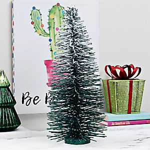 Frosted Bottle Brush Christmas Tree, 22 in.
