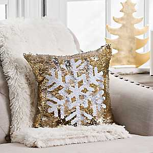 Gold and White Reversible Sequin Snowflake Pillow