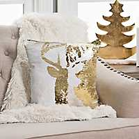 Gold and White Reversible Sequin Reindeer Pillow