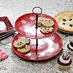 Red Snowflake Two-Tier Cake Stand