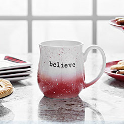 Red Speckle Believe Stoneware Mug