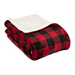 Red and Black Buffalo Check Sherpa Blanket
