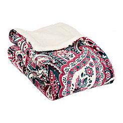 Paisley Eyelet Sherpa Blanket