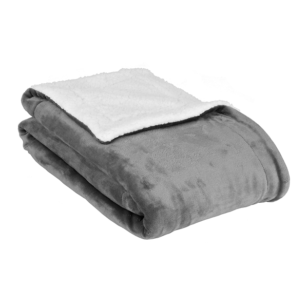 solid gray sherpa blanket