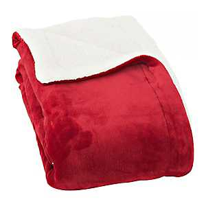 Solid Bright Red Sherpa Blanket