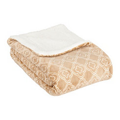 Taupe and White Trellis Sherpa Blanket