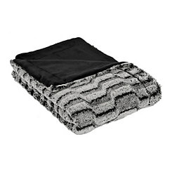 Gray Nevada Faux Fur Throw Blanket