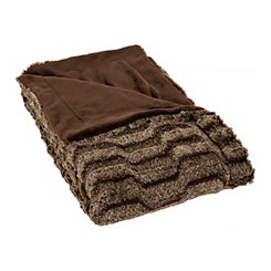 Brown Nevada Faux Fur Plush Throw