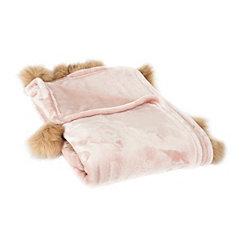 Blush Fur Pom-Pom Blanket