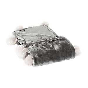 Charcoal Fur Pom-Pom Blanket