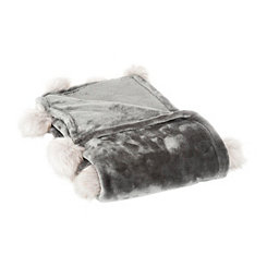 Charcoal Fur Pom-Pom Blanket