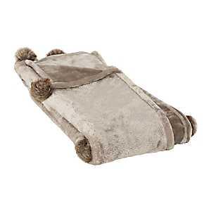 Taupe Fur Pom-Pom Blanket