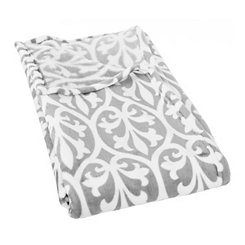 Gray Damask Plush Throw