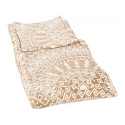 Tan Scalloped Plush Throw