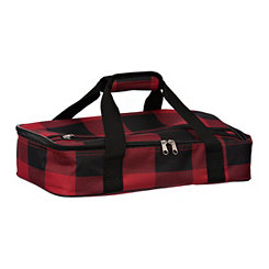 Red and Black Buffalo Check Casserole Tote