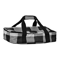 White and Black Buffalo Check Casserole Tote