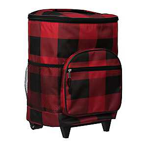 Red and Black Buffalo Check Rolling Cooler