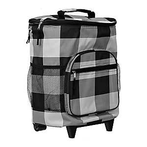 White and Black Buffalo Check Rolling Cooler