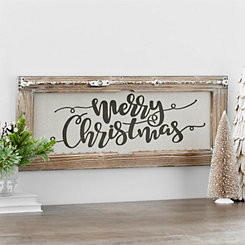 Merry Christmas Framed Linen Wall Plaque
