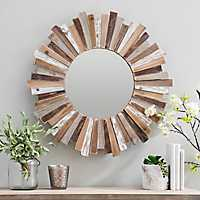 Rustic Neutral Sunburst Wall Mirror