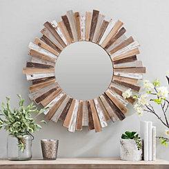 Rustic Neutral Sunburst Wall Mirror