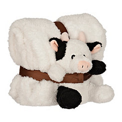 Plush White Cow and Blanket Set