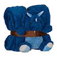 Plush Blue Dinosaur and Blanket Set