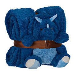 Plush Blue Dinosaur and Blanket Set