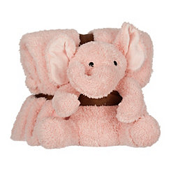 Plush Pink Elephant and Blanket Set