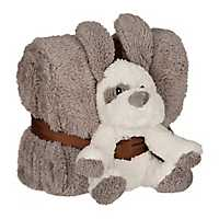Plush Gray Puppy and Blanket Set