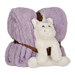 Plush Purple Unicorn and Blanket Set