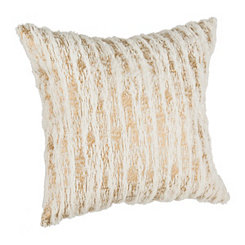 Cream and Gold Striped Fur Pillow