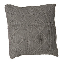 Gray Cable Knit Sweater Pillow