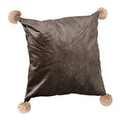 Gray Velvet Pillow with Fur Pom-Poms