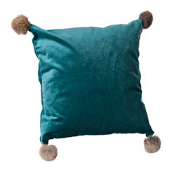 Teal Velvet Pillow with Fur Pom-Poms