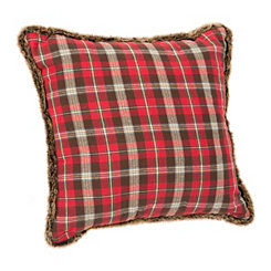 Red Plaid Pillow with Fur Trim