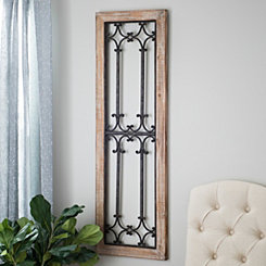 Natural Metal and Wood Faux Window Wall Plaque