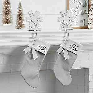 Mr. and Mrs. Gray Christmas Stockings, Set of 2