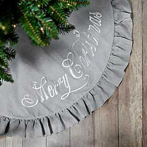 Gray Burlap Merry Christmas Tree Skirt