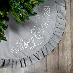 Gray Burlap Merry Christmas Tree Skirt