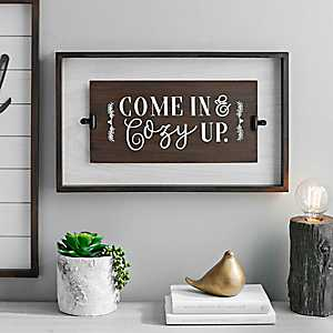 Come In and Cozy Up Wooden Wall Plaque with Clips