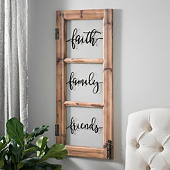 Faith Family Friends 3-Pane Window Plaque